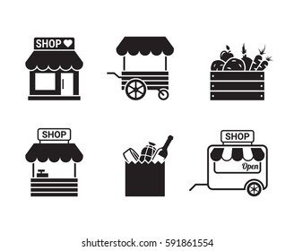 Store, shop or market icon. Black on a white background