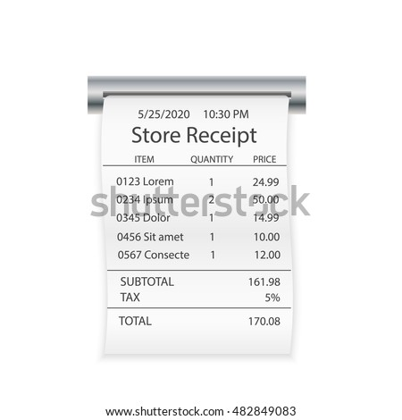 store shop paper receipt isolated on stock vector royalty free