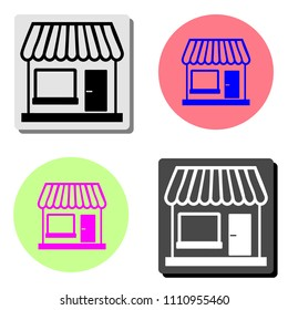 Store. simple flat vector icon illustration on four different color backgrounds