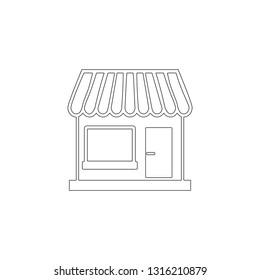 Store. simple flat vector icon illustration. outline line symbol - editable stroke