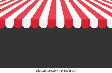 Store striped awning background on the black background. Vector illustration.