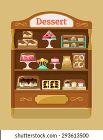 Store sweets. Vector flat illustration