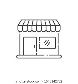 Store vector illustration with simple line design. Store icon, market icon