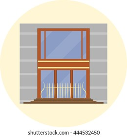 storefront, boutique with large windows and a metal fence, vector illustration in flat style