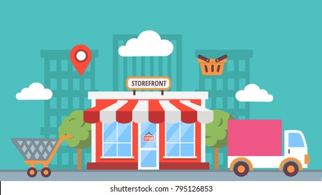 Storefront in city, store building on town street landscape,  flat illustrations in vector and icons, shop facade front view, online shop.