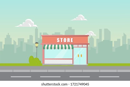 Storefront in city vector illustration, restaurant cafe or store building on town street landscape, flat cartoon style shop facade front view.