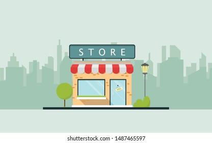 Storefront in the city vector illustration, store building on town street, flat cartoon shop facade front view