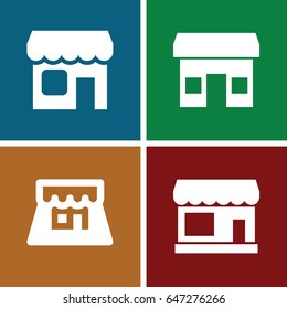 Storefront icons set. set of 4 storefront filled icons such as store