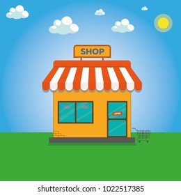 Storefront vector illustration in flat style. Online shop. Store building cartoon facade front view