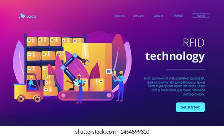 Storehouse employees working, transporting goods boxes. Warehouse logistics, RFID technology use, automation storage service concept. Website homepage landing web page template.