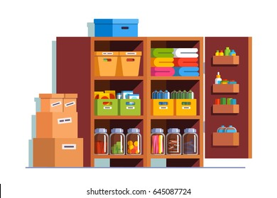 Storeroom interior design with big wooden cupboard full of boxes, glass bottles & household goods. Pantry cellar room decoration furniture. Flat style vector illustration isolated on white background.