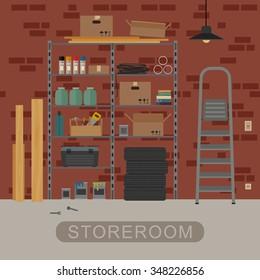 Storeroom interior with metal storage. Vector banner of garage or storeroom in flat style.