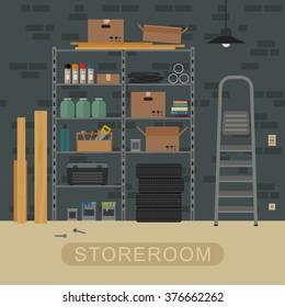 Storeroom interior with metal storage. Vector illustration of garage or storeroom.