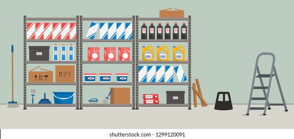Storeroom. Shelving with household goods. Warehouse racks. There are cardboard boxes, bucket, brushes, bottles, step ladder and other things in the picture. Vector illustration
