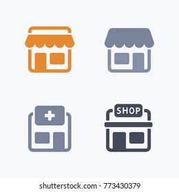 Stores - Carbon Icons. A set of 4 professional, pixel-aligned icons.