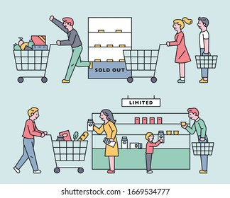 In stores, people are stocking up for disaster. flat design style minimal vector illustration.