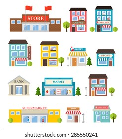 Stores and shops buildings icons set isolated on white background, vector illustration