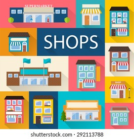 Stores and shops buildings icons set with long shadow isolated, vector illustration