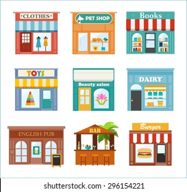 Stores and shops icons set with clothes, pet, books, dairy, toys shop, beauty salon,  English pub, beach bar, burger restaurant, vector illustration