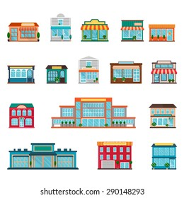 Stores and supermarkets big and small buildings icons set flat isolated vector illustration