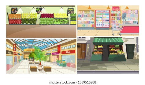Stores vector illustration set. Food market, street stand with fruit and vegetables, supermarket, shopping mall. Shopping concept