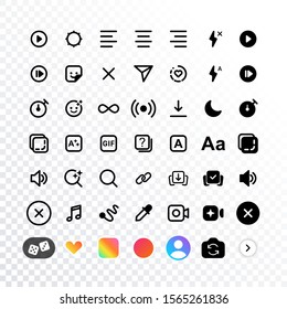 Stories camera interface icons design, internet social media instagram network icons template. Stories icons interface display of mobile application. Vector illustration
