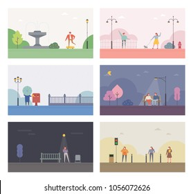 Stories of the park background. vector illustration flat design