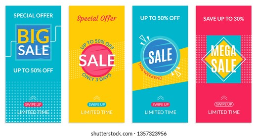 Stories Sale banner design templates. Discount Frames for Smartphone story. Social Media layout with Swipe Up button. Special offer and Price off coupon. Vector illustration.