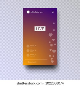 Stories. Streaming. Live video streaming vector icon isolated on colorful gradient background