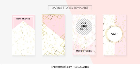 Stories Template Cool Vector SMM Layout. Textured Brand Design Pack. Social Media Blogger Covers Set. Trendy App Kit, Pink White Gold Rich VIP Geometric Marble Patterns. Stories Template VIP Layout