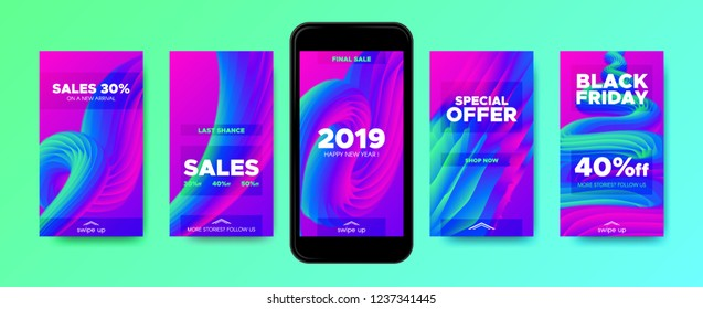 Stories Templates with Abstract Fluid Wave Shape. Colorful 3d New Year Sales Flyer for Promotion in Stories. Gradient Templates Set for Mobile Phone Screen Wallpaper. Stories Design, Branding Concept.