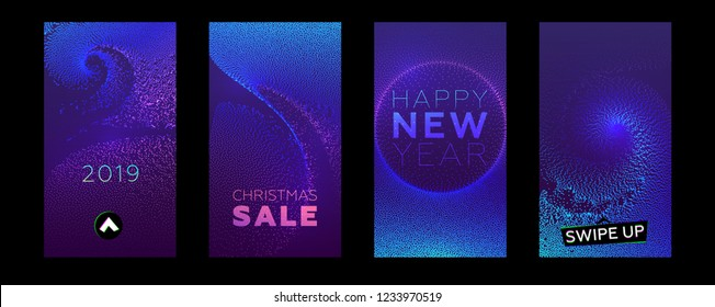 Stories templates set for Christmas and New Year 2019 sales with swipe up buttons. Xmas decorations, liquid particles fluid flow. Eps10 vector illustration
