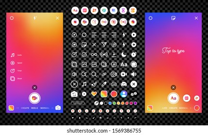 Stories video reels camera interface instagram photo frame design social media network post template. Stories interface icons display of mobile application. Vector mock up illustration