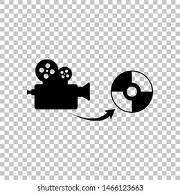 Storing video data to compact disk sign. Black icon on transparent background. Illustration.