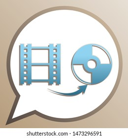 Storing video data to compact disk sign. Bright cerulean icon in white speech balloon at pale taupe background. Illustration.