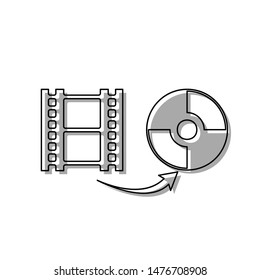 Storing video data to compact disk sign. Black line icon with gray shifted flat filled icon on white background. Illustration.
