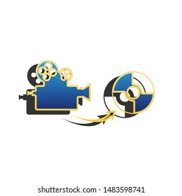 Storing video data to compact disk sign. Blue icon with gold contour with dark gray shadow at white background. Illustration.