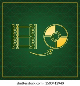 Storing video data to compact disk sign. Golden icon with gold contour at dark green gridded white background. Illustration.