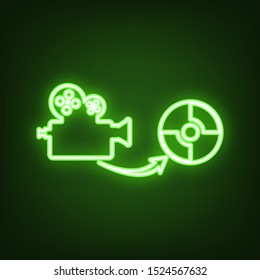Storing video data to compact disk sign. Green neon icon in the dark. Blurred lightening. Illustration.