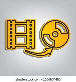 Storing video data to compact disk sign. Flat orange icon with overlapping linear black icon with gray shadow at whitish background. Illustration.