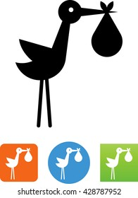 Stork with baby / Birth announcement icon