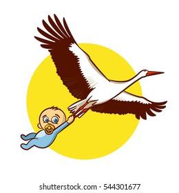 Stork with Baby Boy Sticker Vector Illustration
