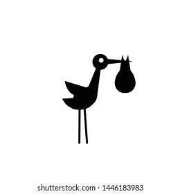 stork with baby in bundle, silhouette. silhouette of stork holding a bag with a baby icon over white background.