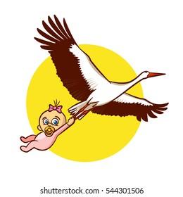 Stork with Baby Girl Sticker Vector Illustration
