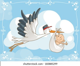 Stork with Baby Vector Cartoon - Vector cartoon of a cute stork carrying a baby to its destination. File type: vector EPS AI8 compatible.