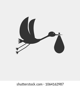 stork with baby vector icon