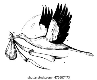 Stork with baby. Vector sketch illustration.