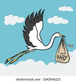 Stork bird bring baby cute cartoon vector illustration