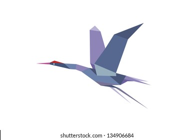 Stork bird in origami style. Jpeg version also available in gallery