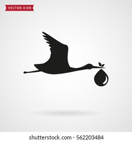The stork brings the baby. Icon isolated on white background. Child birth concept. Vector illustration